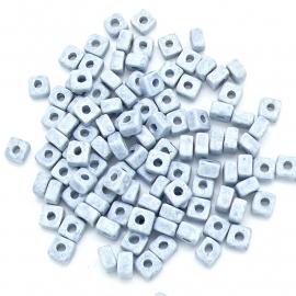 keramiek kraal vierkant stone look 6x6x4mm gat 2,5mm (KER-02-04) - 20 stuks