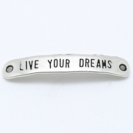 DQ metaal tussenzetsel 7x40mm `live your dreams` (B03-021-AS)