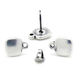 DQ metaal oorbel  oorsteker vierkant met oogje per paar (B05-055-AS)