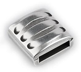 DQ metaal schuifkraal vierkant met strepen voor 10mm plat leer (B04-014-AS)
