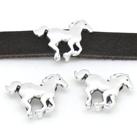DQ metaal schuifkraal paard voor 10mm breed leer maat 15x22mm gaten 10x2.5mm (B04-167-AS)