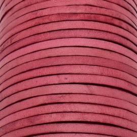 lederen band smal 5mm - dik 2mm - kleur vintage raspberry pink - 20cm (PL05-021)
