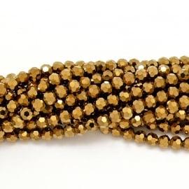 glaskraal rond facet 6mm - streng van ongeveer 100 kralen (BGK-002-009) kleur metallic gold
