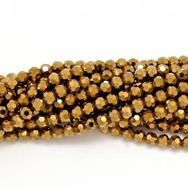 glaskraal rond facet 8mm - circa 35  kralen (BGK-003-009) kleur metallic gold