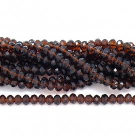 glaskraal rondel facet 6x8mm - streng van ongeveer 72 kralen (BGK-006-003) kleur Amber