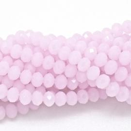 glaskraal rondel facet 4x6mm - streng van ongeveer 100 kralen (BGK-005-042) kleur opal light rose