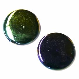 schelp kraal rond 25mm kleur parelmoer paars/groen (BJSC020)
