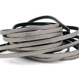 leren band smal 6mm dik ca. 2.5mm ca. 90cm lang - kleur antraciet/brons (OL-05)
