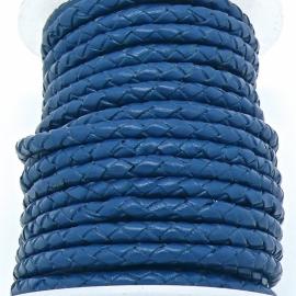 DQ 4mm rondgevlochten Buffel Leather - kleur DARK BLUE - 20cm (BRGL-4-06)