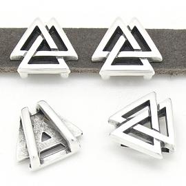 DQ metaal schuifkraal Boho 3 triangels voor 10mm leer maat 14x16mm - gat 2,5x10mm (B04-136-AS)