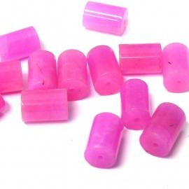 (BJRO-007) glaskraal tonnetje 7x12mm fuchsia roze  - 10 stuks