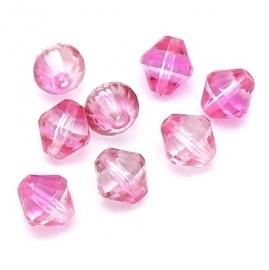 (BJRO-029) glaskraal facet geslepen 12x13mm kleur roze