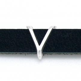 DQ metaal schuifkraal voor 10mm breed leer - letter V- maat 12x14mm - gat 2,5x10mm (B04-089-AS)