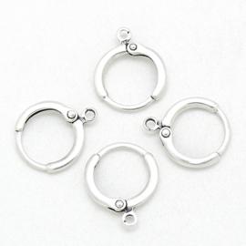 DQ metaal Oorbel met ringetje maat 13.4mm ringetje 1.6mm - per paar (B05-063-AS)