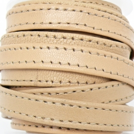 DQ platte leerband 10mm breed soft nappa leather 2-sided - dubbelgestikt - kleur natural - 20cm