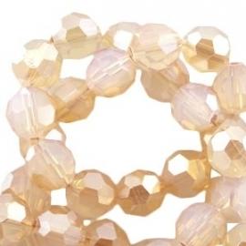 glaskraal facet 8mm opal white rose gold coating (BK19249) - 21 stuks