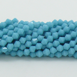 glaskraal bicone 4mm - circa 110  kralen (BGK-008-024) kleur Opaque Turquoise