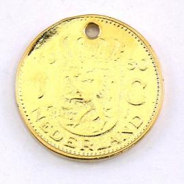 DQ metaal GOUD bedel munt 1 gulden 24mm (B02-021-SG)