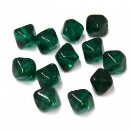 (BJG-013) glaskkraal vierkant zoutje 9mm donkergroen - 10 stuks