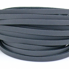 DQ leren band smal 5mm - 2,2 dik circa 100cm lang - kleur trend grijs (PL05-012)