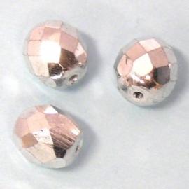 glaskraal zilver rond facet 10mm (BJW025) - 5 stuks