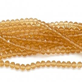 glaskraal rondel facet 6x8mm - streng van ongeveer 72 kralen (BGK-006-005) kleur Champagne Gold
