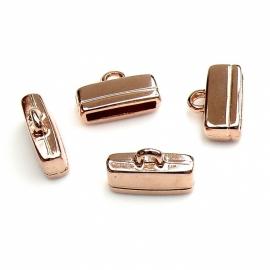 DQ metaal ROSE GOUD eindkap voor 13mm breed leer 11x16mm (gat 2,5x13mm) (B06-005-RG)