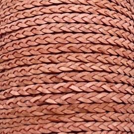 DQ plat gevlochten soft leather 6mm breed kleur vintage raspberry peach - 20 cm (BPGL-06-06)
