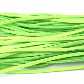 imitatie suede veter 3mm breed 90cm FLUOR GREEN (no. 22)
