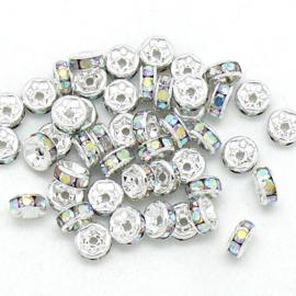 strass rondel - ZILVER - crystal AB - maat 6x3mm - gat 1mm - 5 stuks
