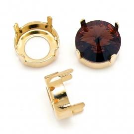 Swarovski setting met 4 gaten goud voor rivoli 1122 - 12mm (BSR12-S3-G)