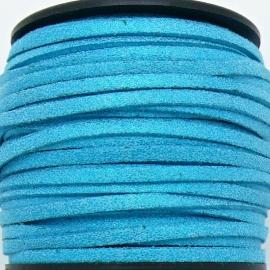 imitatie suede veter 3mm breed - 2m lang - kleur turquoise glitter (BSL-3-25)
