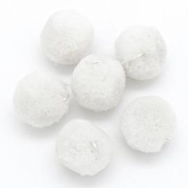Pompom bedel 15mm met zilver oogje kleur wit (POM15-001)