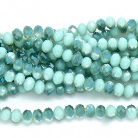 glaskraal rondel facet 6x8mm - streng van ongeveer 72 kralen (BGK-006-015) kleur light green diamond coating