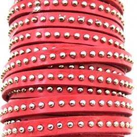 leer 6mm breed gestud leer kleur roze - 20cm