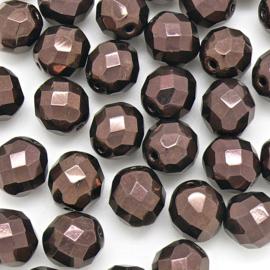 (BJBR-021) glaskraal rond facet geslepen 12mm col. LZ23980 kleur Dark Bronze - 4 stuks