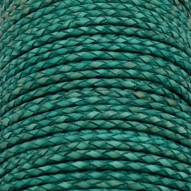 DQ 3mm rondgevlochten soft leather- kleur vintage teal green - 20cm (BRGL-3-02)