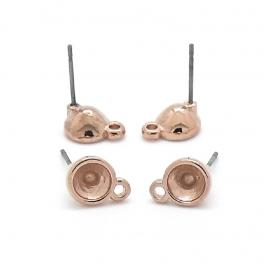 DQ metaal ROSE GOUD oorbel oorsteker met oogje voor ss24 per paar (pin is titanium) (B05-042-RG)
