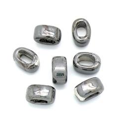 keramiek kraal voor REGALIZ leer maat 10x19mm - gat 8x11mm - kleur cream silver (KER-01-004)