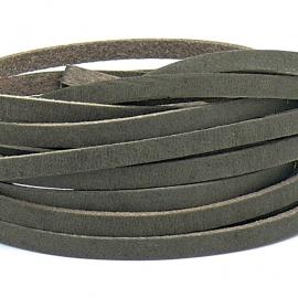 DQ leren band smal 5mm - 2,1 dik circa 100cm lang - kleur buffel bruin (PL05-003)