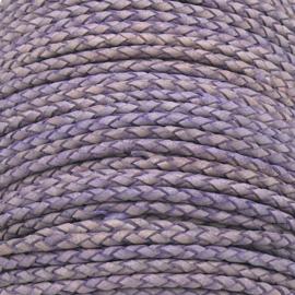DQ 3mm rondgevlochten soft leather- kleur vintage violet - 20cm (BRGL-3-11)