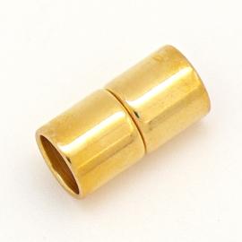 DQ metaal Goud magneesluiting tube 10x20mm gat 8mm (B07-126-SG)