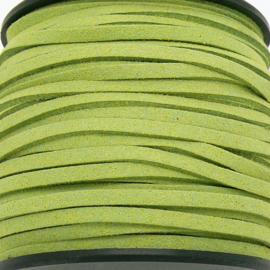 imitatie suede veter 3mm breed - 2m lang - kleur olijfgroen (BSL-3-30)
