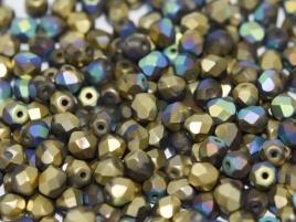FPB 4mm col. 00030/98857 - 30 kralen - kleur Crystal Glittery Amber Matte