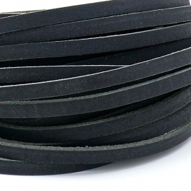 DQ leren band smal 5mm - 2,2 dik circa 100cm lang - kleur buffel zwart (PL05-001)