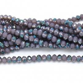 glaskraal rondel facet 6x8mm - streng van ongeveer 72 kralen (BGK-006-023) kleur dark purple diamond coating