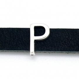 DQ metaal schuifkraal voor 10mm breed leer - letter P- maat 9x14mm - gat 2,5x10mm (B04-083-AS)