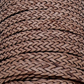 DQ plat gevlochten soft leather 13/14mm breed - kleur vintage brown - 20 cm (BPGL-14-02)