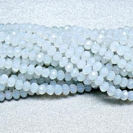 glaskraal rondel facet 3x4mm - circa 148 kralen (BGK-004-030) kleur white opal
