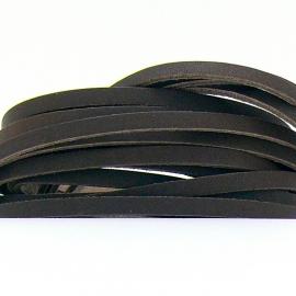 DQ leren band smal 5mm - 2,2 dik circa 100cm lang - kleur trend bruin (PL05-006)